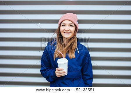 Stylish Sporty Brunette Smiling Woman In Trendy Urban Outwear Posing With Big White Disposable Cup S