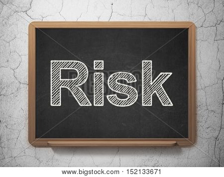 Business concept: text Risk on Black chalkboard on grunge wall background, 3D rendering