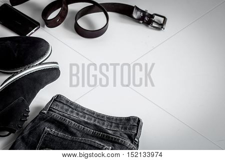 Set Of Men's Clothes On White Background