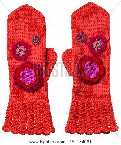 Pair Of Homemade Woolen Red Mittens With Flowers For Children On White Background.