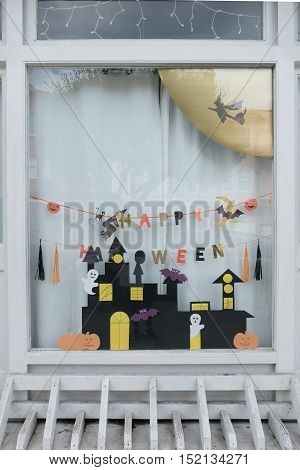 San Francisco, Usa - October 13, 2016: Cute Kids Paper Crafts Display At Nursery House's Window For