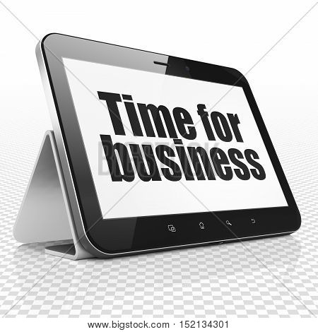 Finance concept: Tablet Computer with black text Time for Business on display, 3D rendering