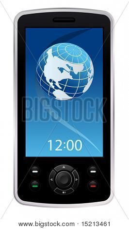 vector mobile phone with globe