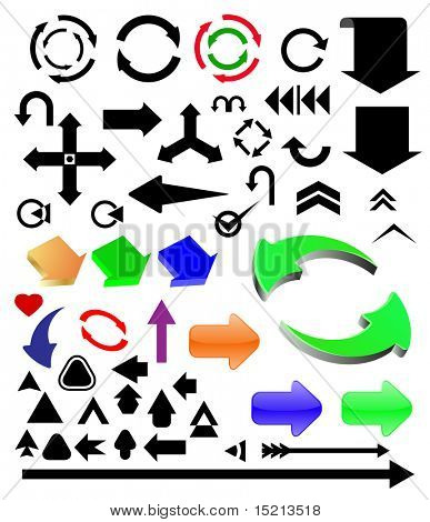 vector different color arrows set