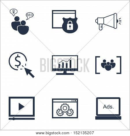 Set Of Seo Icons On Ppc, Media Campaign And Digital Media Topics. Editable Vector Illustration. Incl