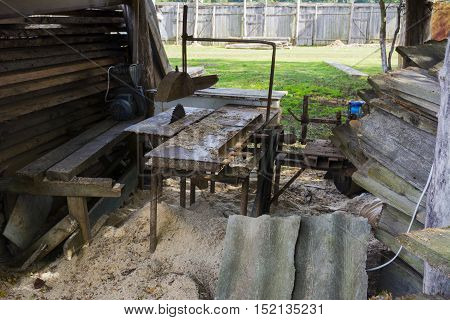 homemade machine for sawing wood and other materials in the home