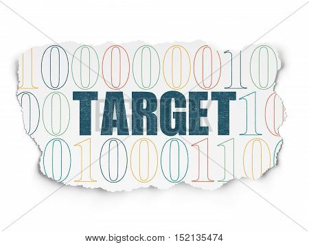 Business concept: Painted blue text Target on Torn Paper background with  Binary Code