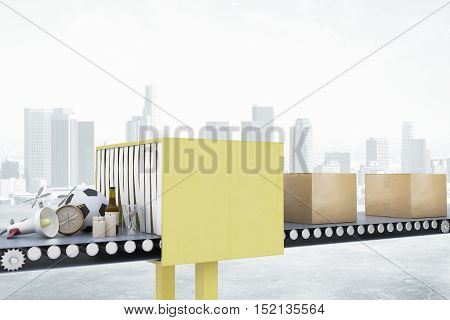 Mail conveyor on city background. Packaging service and parcel transportation system concept. 3D Rendering
