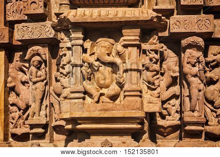 Famous stone carving sculptures pf Ganesha, Lakshmana  Temple, Khajuraho, India. Unesco World Heritage Site