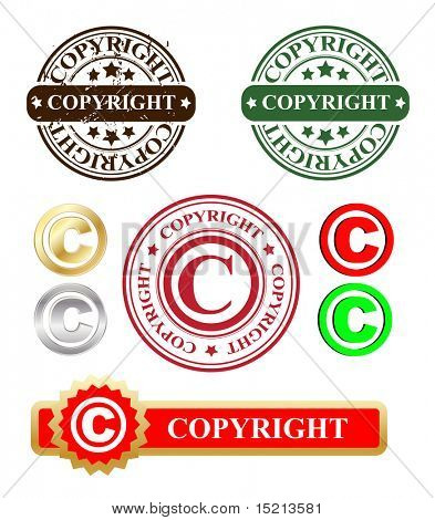 vector copyright stamp and labels
