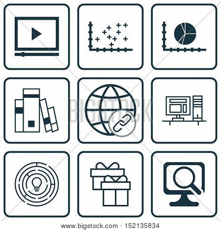Set Of 9 Universal Editable Icons For Advertising, Marketing And Computer Hardware Topics. Includes