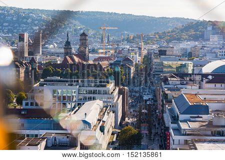 Stuttgart Germany City Center Koenigstrasse Public Otudoors Bahnhofturm View Cityscape 16 October 2016