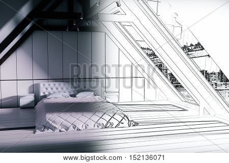 Unfinished loft bedroom blueprint with furniture. 3D Rendering