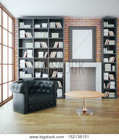 Luxurious library interior with black leather sofa bookshelves fireplace table and blank picture frame on red brick wall. Mock up 3D Rendering