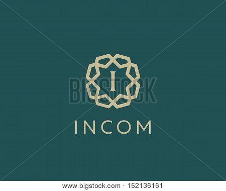 Premium letter I logo icon vector design. Luxury jewelry frame gem edge logotype. Print monogram initials stamp sign symbol