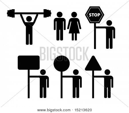 vector person with sign