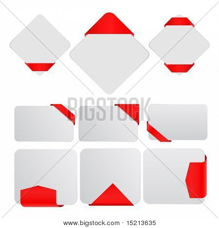 vector white tags with ribbons