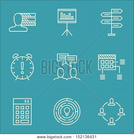 Set Of Project Management Icons On Schedule, Personal Skills And Discussion Topics. Editable Vector