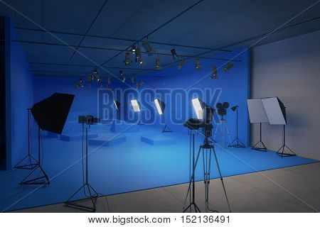 Modern blue photo studio with old movie camera. 3D Rendering