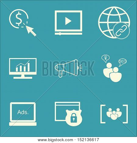 Set Of Seo Icons On Media Campaign, Ppc And Connectivity Topics. Editable Vector Illustration. Inclu