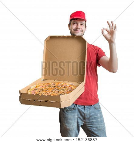 Pizza Delivery Concept. Young Man Is Holding And Showing Opened