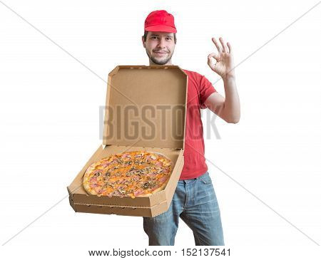 Pizza Delivery Concept. Young Man Is Carrying Boxes With Tasty P