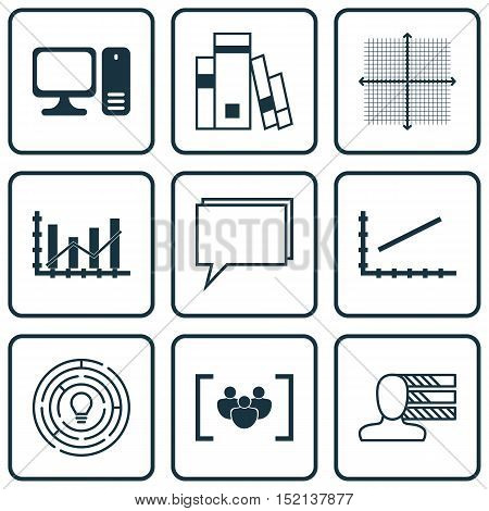 Set Of 9 Universal Editable Icons For Seo, Education And Computer Hardware Topics. Includes Icons Su