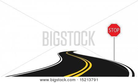 road with stop sign