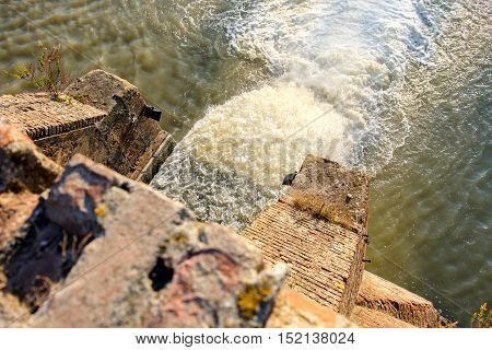 artificial waterfall above view pov high nature force