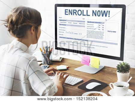 Enroll Now Registration Membership Concept