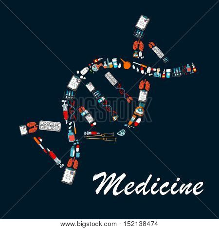 DNA helix symbol made up of medicine bottles, pill, syringe, doctor, test tube, laboratory flask, lung, medical checkup form, enema and crutch sketches