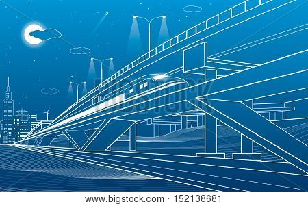Train move on the bridge, night city and overpass, industrial and transportation illustration, white lines landscape, night town, vector design art