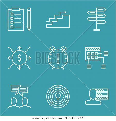 Set Of Project Management Icons On Discussion, Personal Skills And Money Topics. Editable Vector Ill