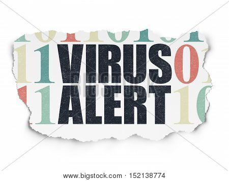 Safety concept: Painted black text Virus Alert on Torn Paper background with  Binary Code
