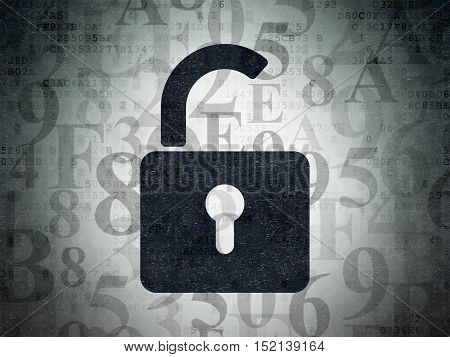 Privacy concept: Painted black Opened Padlock icon on Digital Data Paper background with  Hexadecimal Code