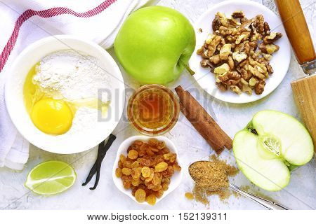Ingredients For Making Traditional Apple Strudel.space For Text.