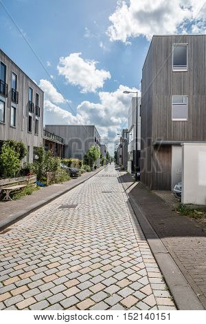 Amsterdam Netherlands - August 08 2016: Modern architecture house. Ijburg is a residential neighbourhood in artificial islands east of Amsterdam which combines modern architecture and water.