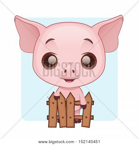Cute pig standing behind a fence with simple background