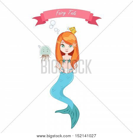 Illustration of mermaid girl holding a pearl