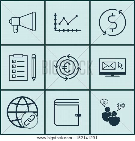 Set Of 9 Universal Editable Icons For Travel, Advertising And Project Management Topics. Includes Ic