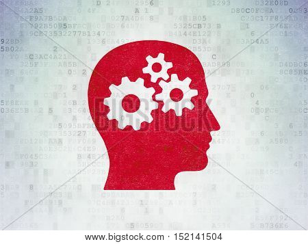 Information concept: Painted red Head With Gears icon on Digital Data Paper background