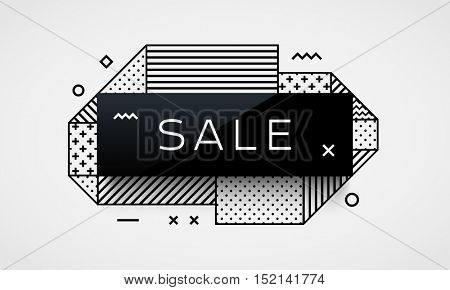 Trendy vector banner template. Different geometric patterns and shapes. Design template for brochure, website or flyer. Sale label.