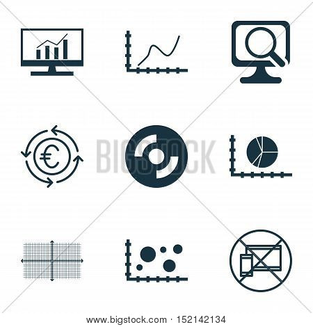 Set Of 9 Universal Editable Icons For Airport, Statistics And Advertising Topics. Includes Icons Suc