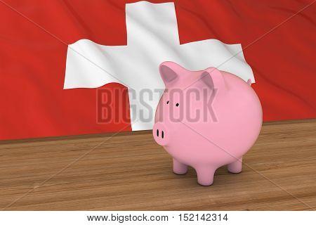 Switzerland Finance Concept - Piggybank In Front Of Swiss Flag 3D Illustration