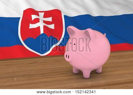 Slovakia Finance Concept - Piggybank In Front Of Slovakian Flag 3D Illustration