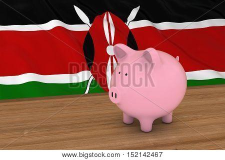 Kenya Finance Concept - Piggybank In Front Of Kenyan Flag 3D Illustration