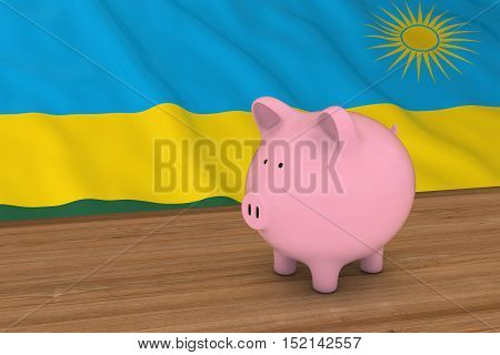 Rwanda Finance Concept - Piggybank In Front Of Rwandan Flag 3D Illustration