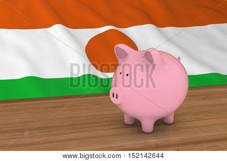 Niger Finance Concept - Piggybank In Front Of Nigerien Flag 3D Illustration