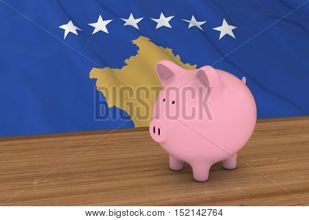Kosovo Finance Concept - Piggybank In Front Of Kosovan Flag 3D Illustration