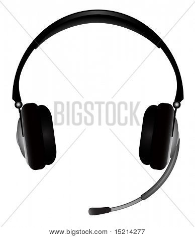 headphones with microphone. vector